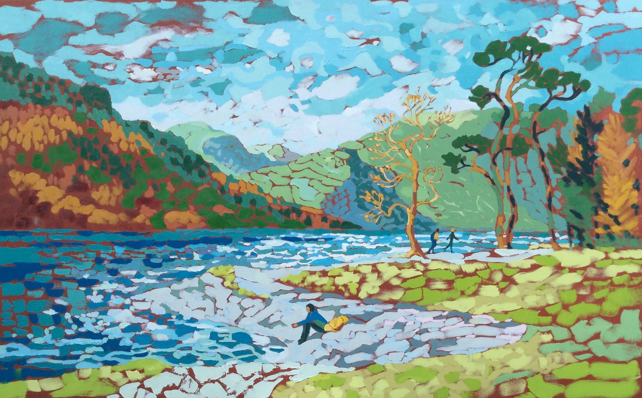 "Buttermere, Windy Autumn Day. Oil on canvas. 100 x 161 cm. Showing at Royal Derby Hospital in the Air Arts ""Illuminate"" exhibition until March 2021"