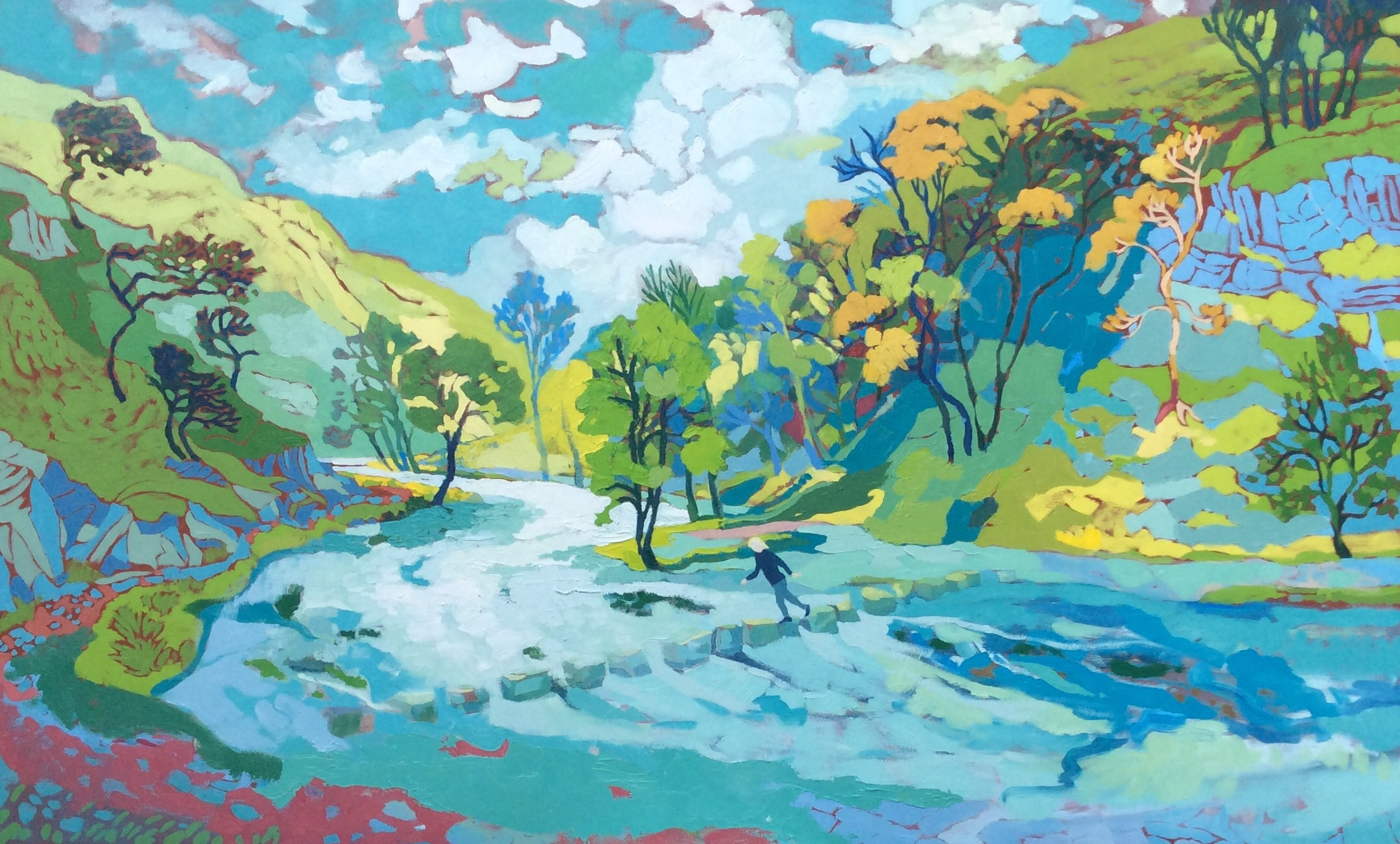 Dovedale Stepping Stones in Autumn. 100 x 161 cm. (Sold)