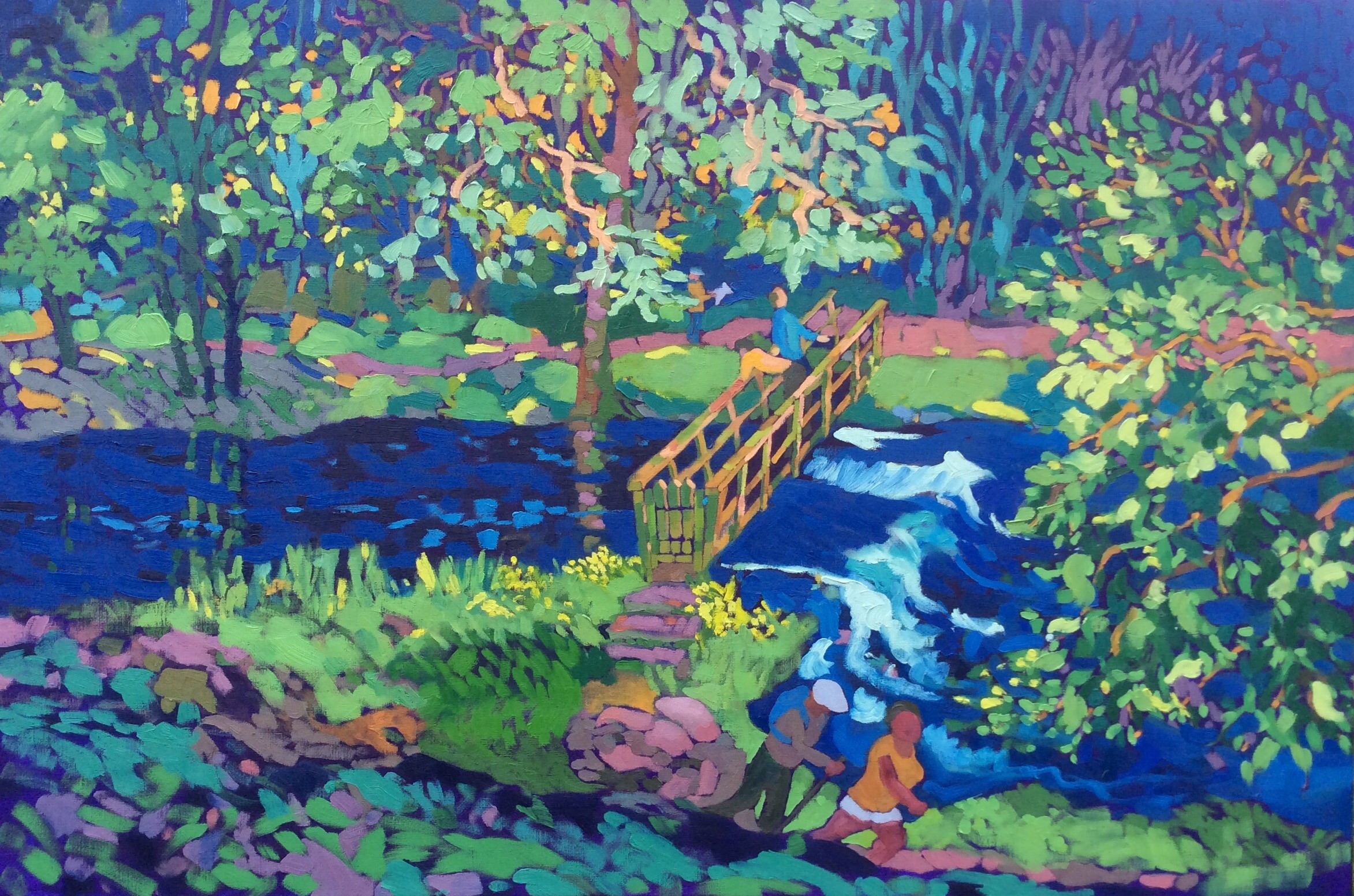 Coldeaton Bridge in Summer. Oil on canvas. 70 x 113 cm (sold)