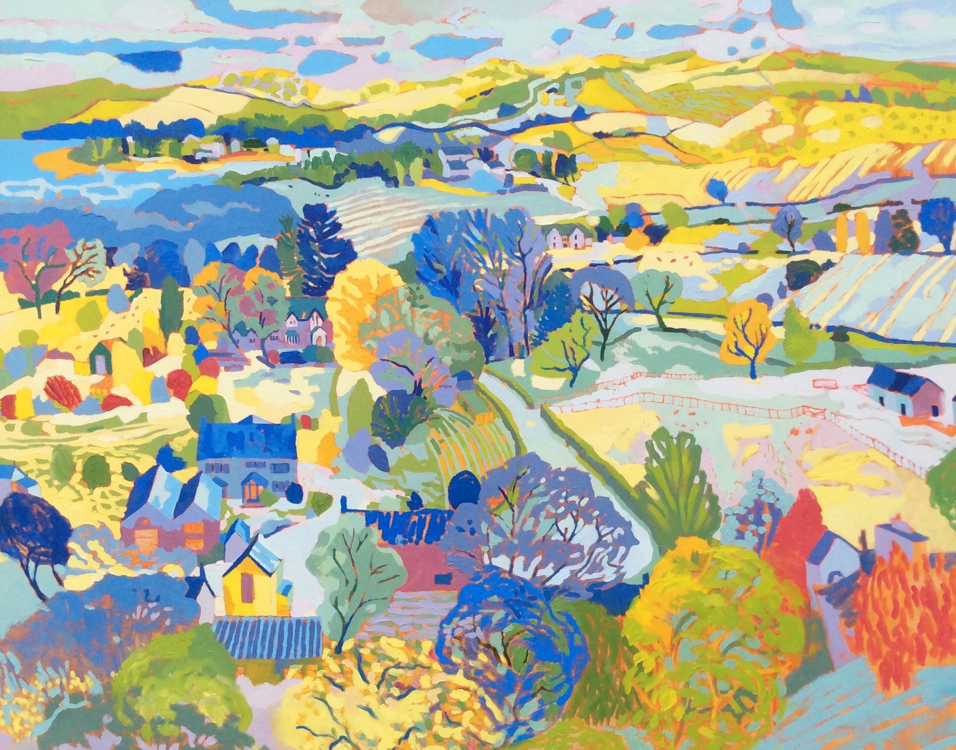 Carsington Village and Carsington Water. Oil on canvas. 120 x 150 cm. (Sold)
