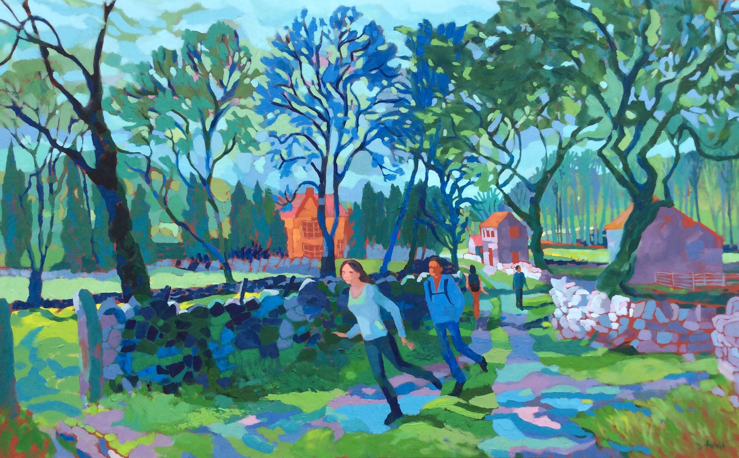 Walkers in a Lane. Oil on canvas. 100 x 161 cm.