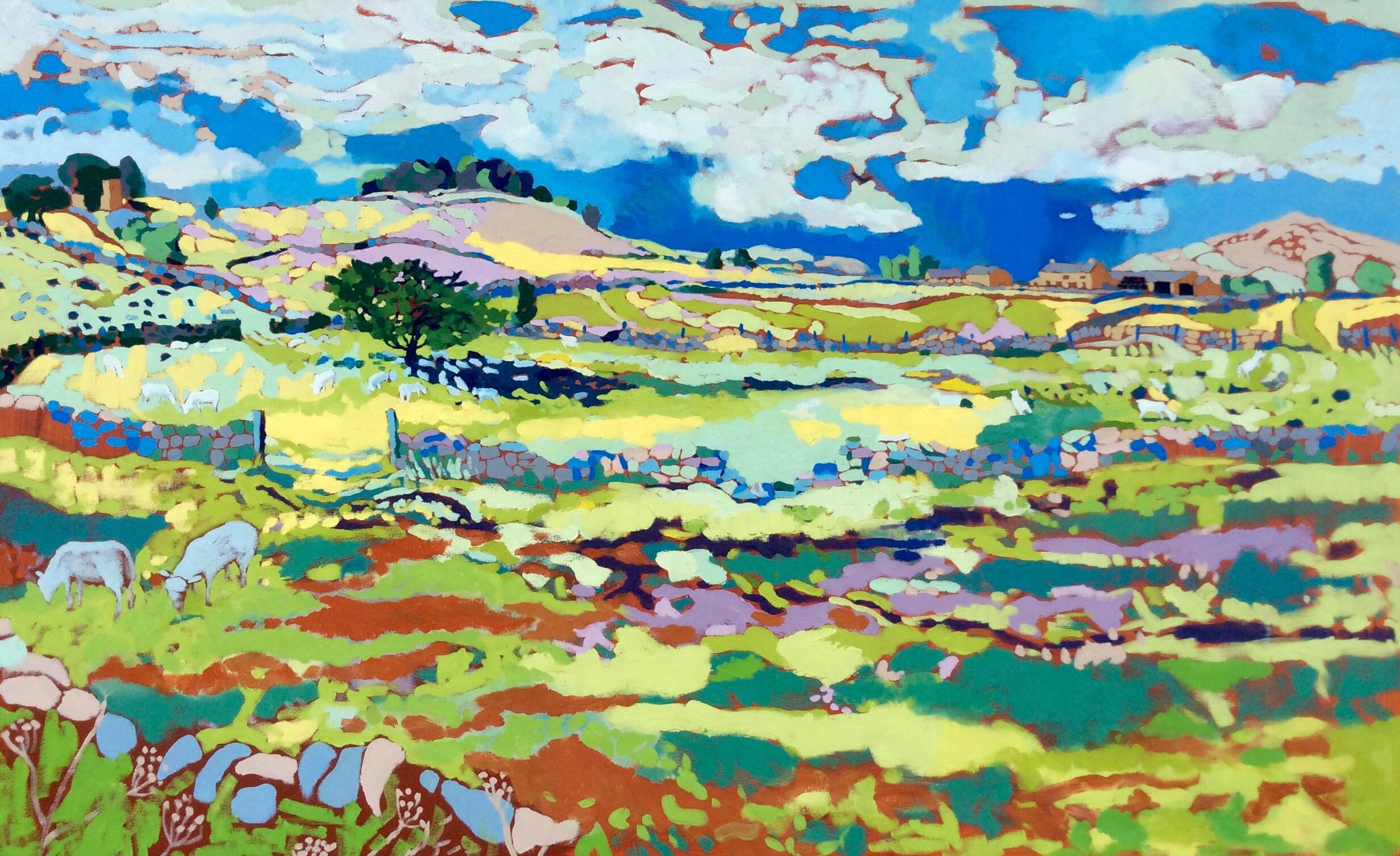Shining Summer Fields, Alstonefield. Oil on canvas. 100 x 161 cm