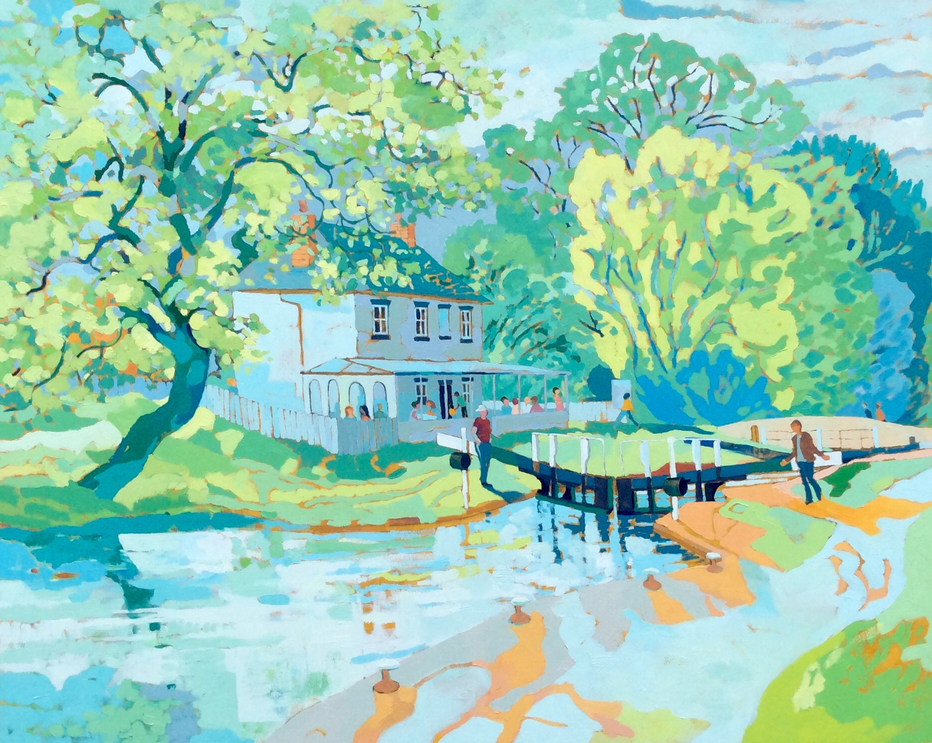 Stenson Lock on a Summer Afternoon. Oil on canvas. 120 x 150 cm. (Sold)