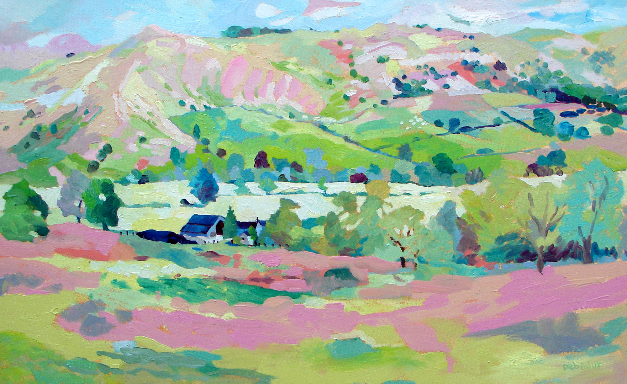Bunster Hill in Pink and Green. Oil on canvas. 50 x 70 cm. (Sold)