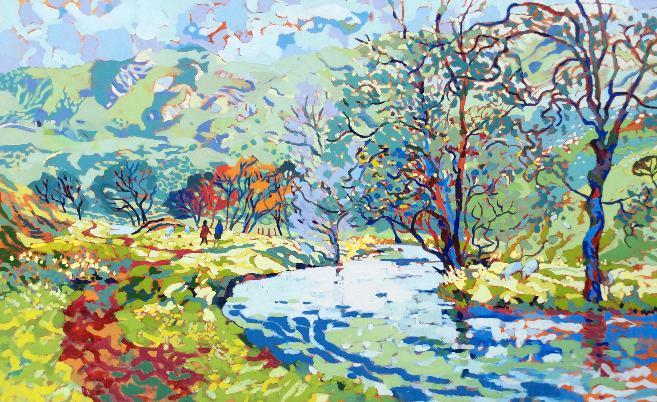 A Bend in the River Dove. Oil on canvas. 100 x 161cm. (Sold)