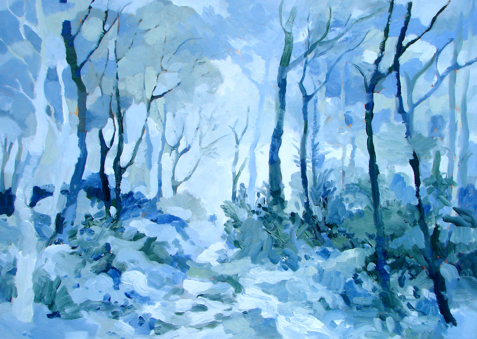 Osmaston Park Woods in the Ice and Snow. Oil on canvas. 40 x 55 cm. (Sold)