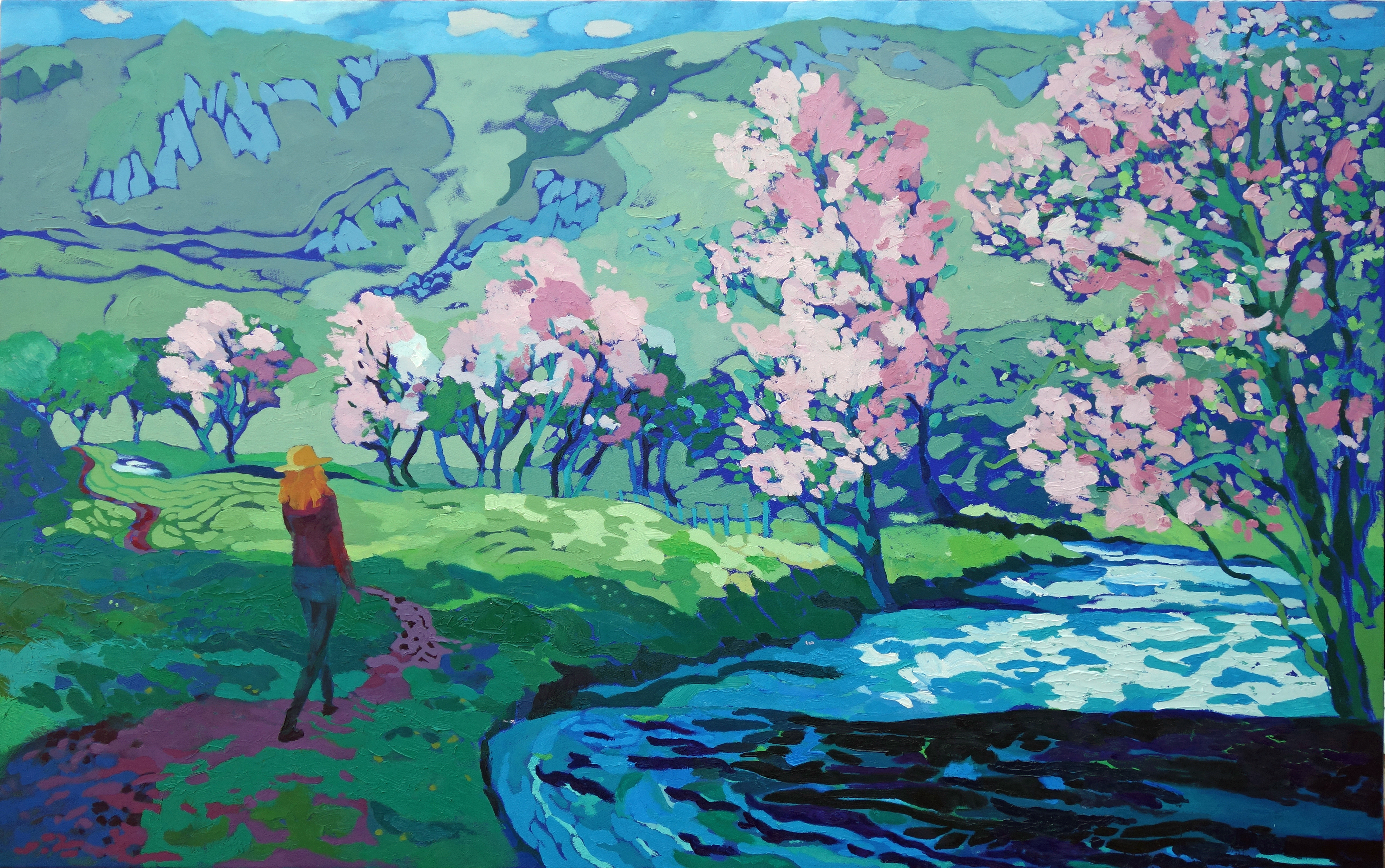 Blossom Trees, Sunny River. Oil on canvas. 100 x 161 cm.