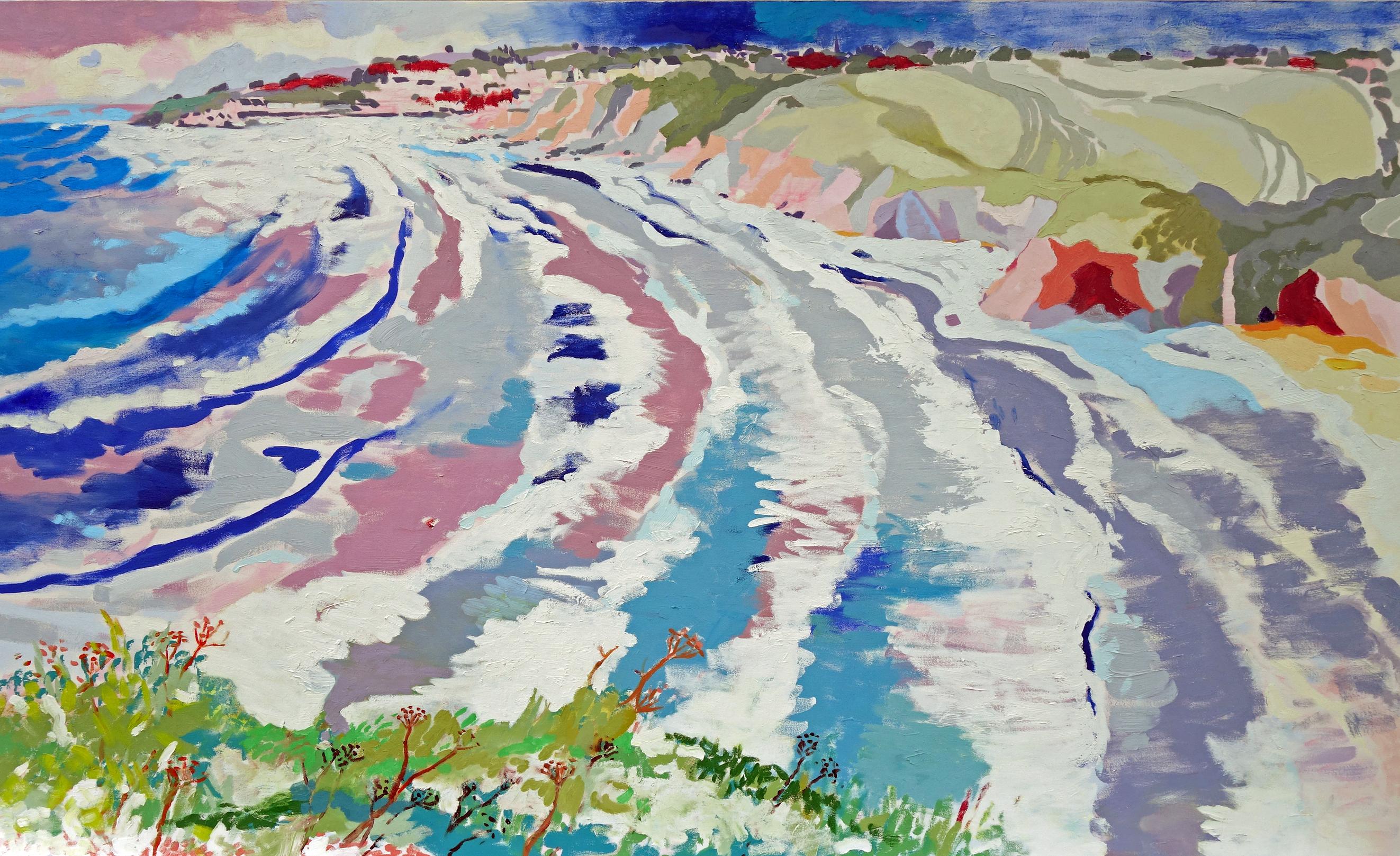 Porthscatho Wind and Sun. Oil on canvas. 100 x 160 cm.