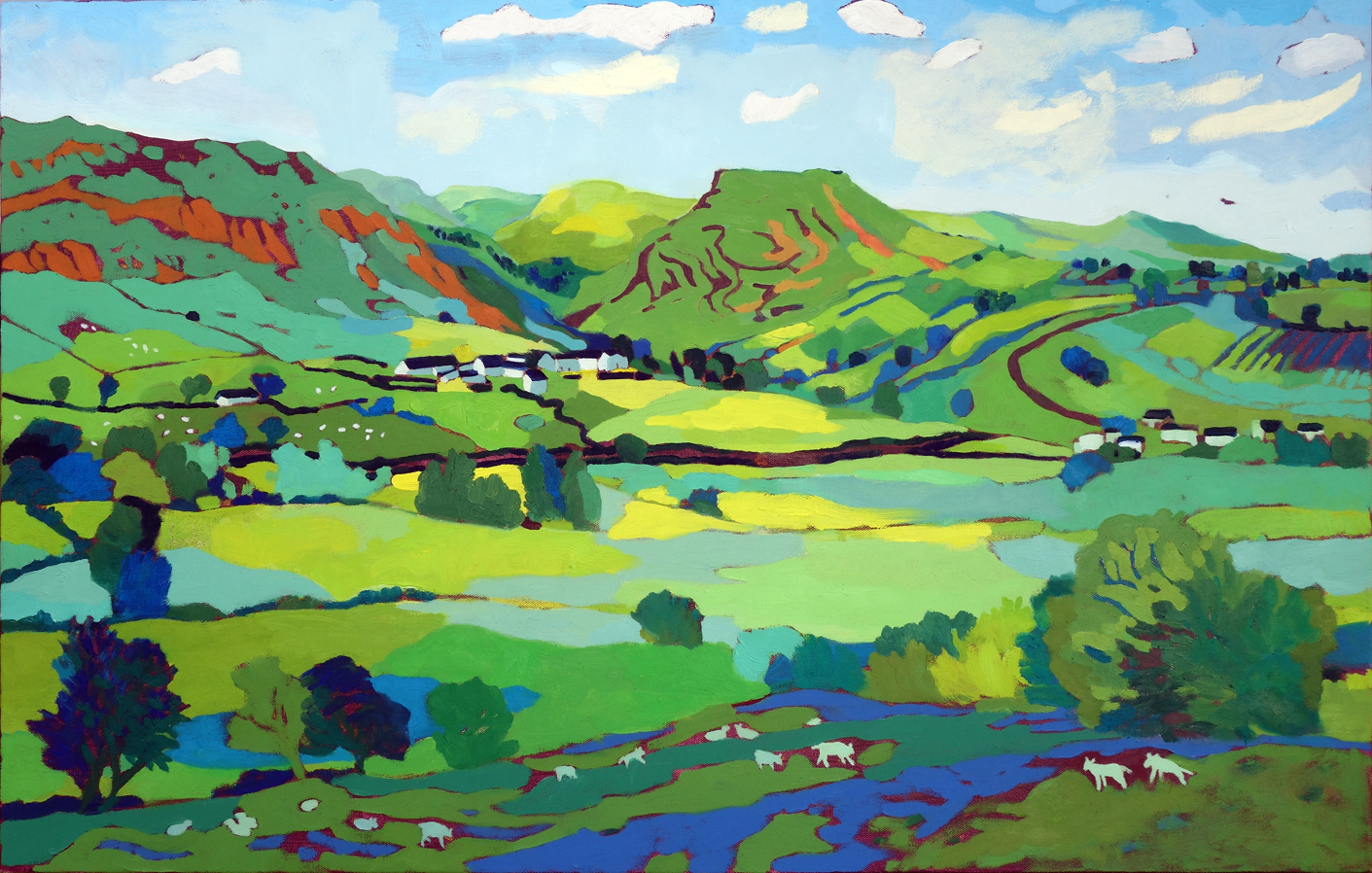 Thorpe Cloud and Lambs. Oil on canvas. 60 x 97 cm. (sold)