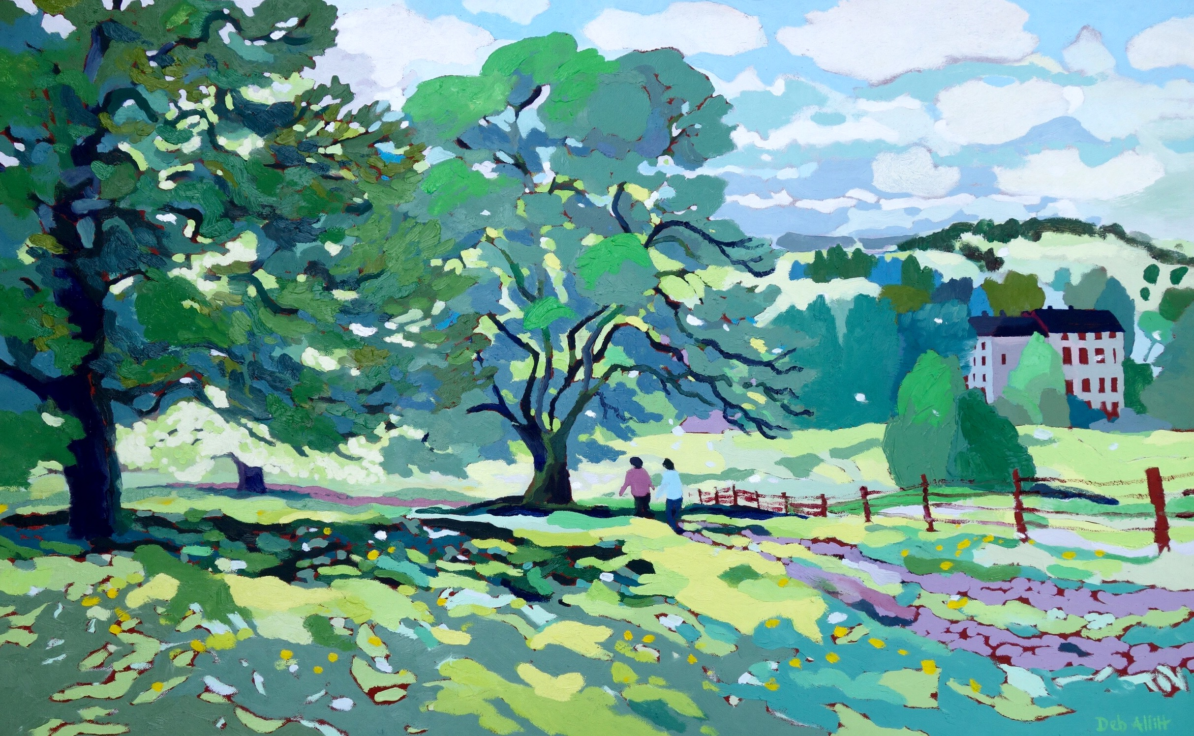 Spring Trees, Scudding Clouds, Alderwasley. Oil on canvas. 60 x 97.5 cm. (sold)