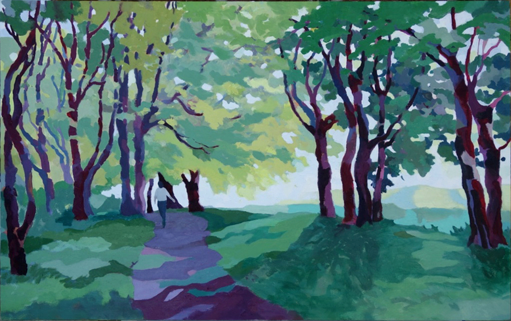 Summer Walk through the Woods, Kedleston Park. Oil on canvas. 60 x 97 cm.