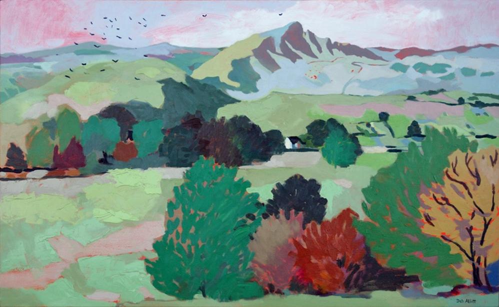 Birds Flying Over Chrome Hill. Oil on canvas. 70 x 113 cm.