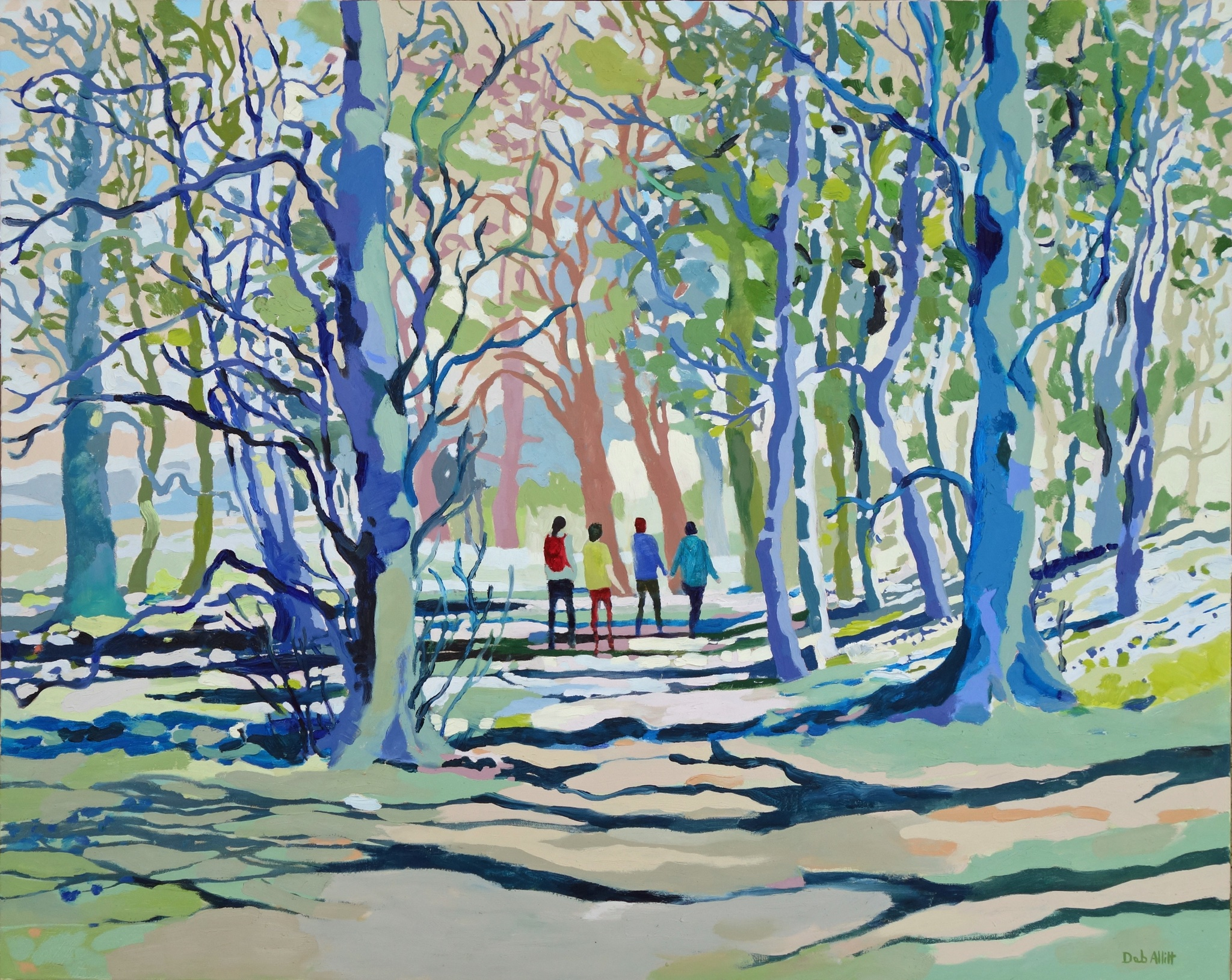 Kedleston Park Woods in Spring Sunshine. Oil on canvas. 80 x 100 cm.