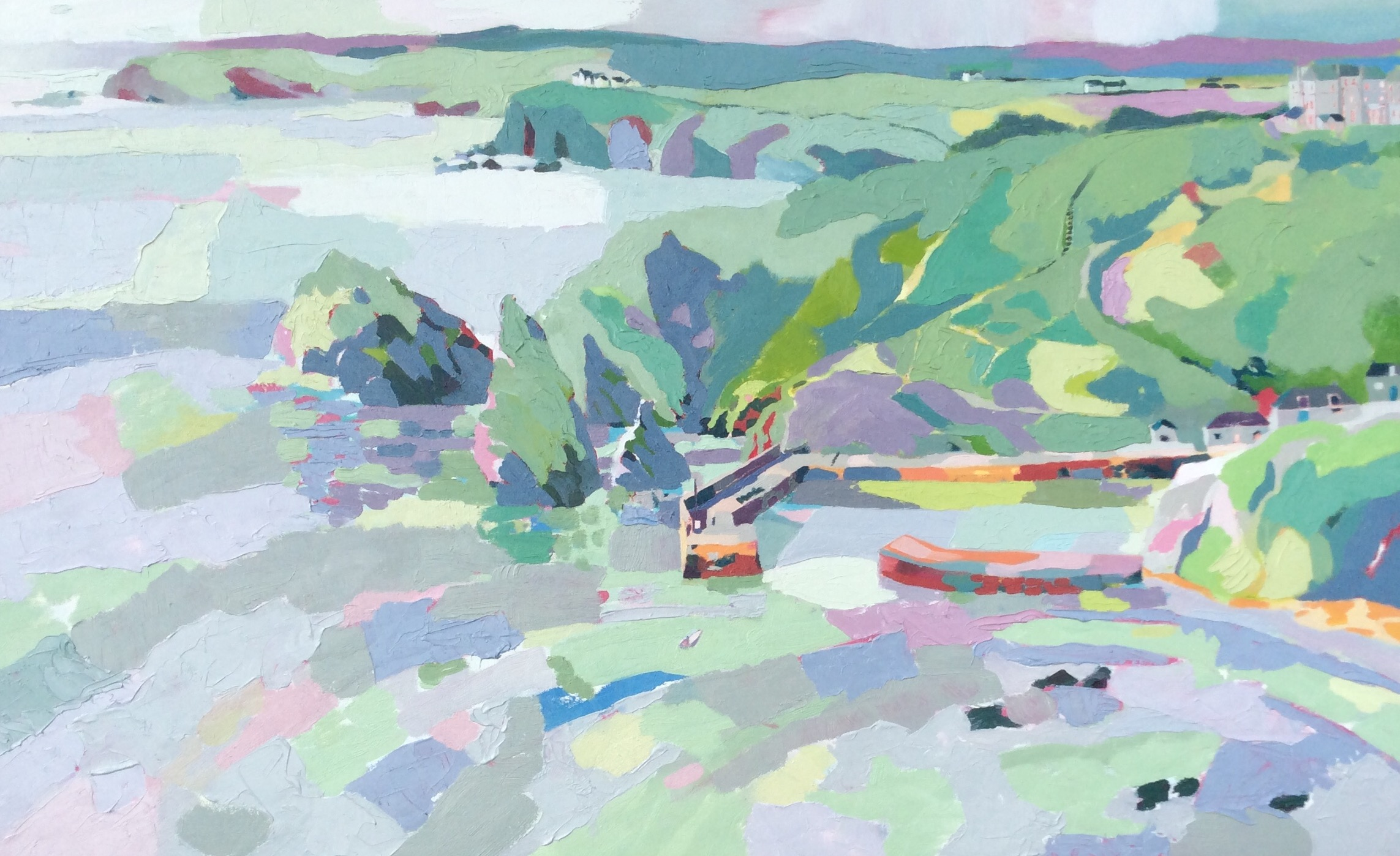 Mullion Cove in Soft Light. Oil on canvas. 60 x 97.5 cm. (Sold)