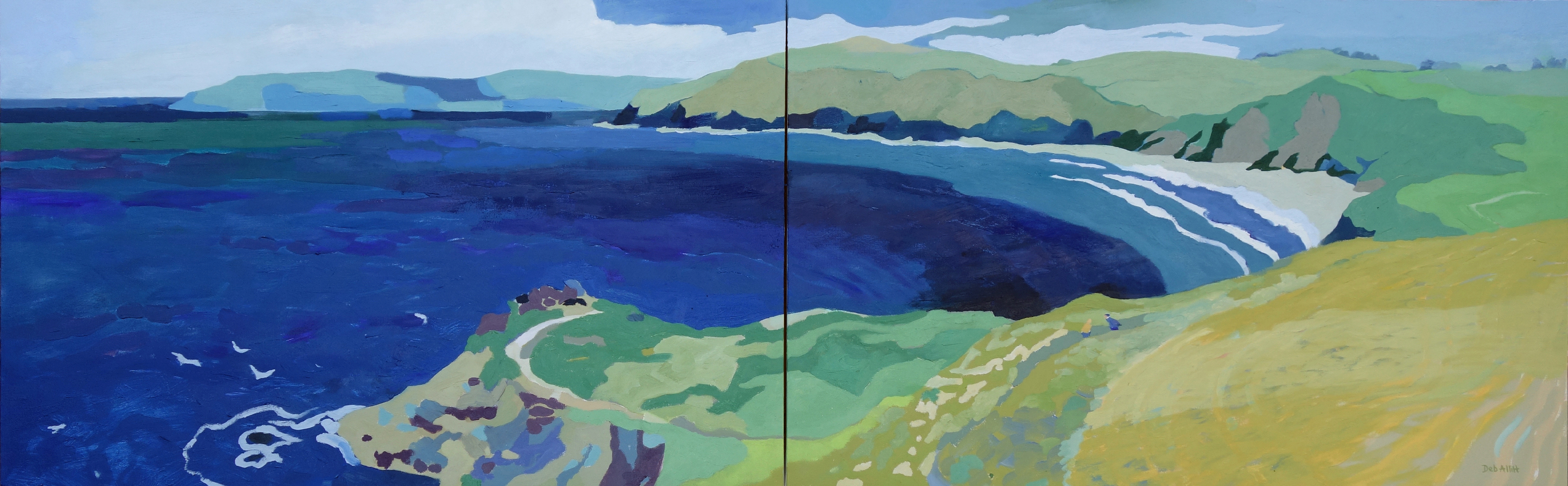 Deep Blue Sea, St Anthony Head, West Cornwall. Oil on canvas. 60 x 194 cm