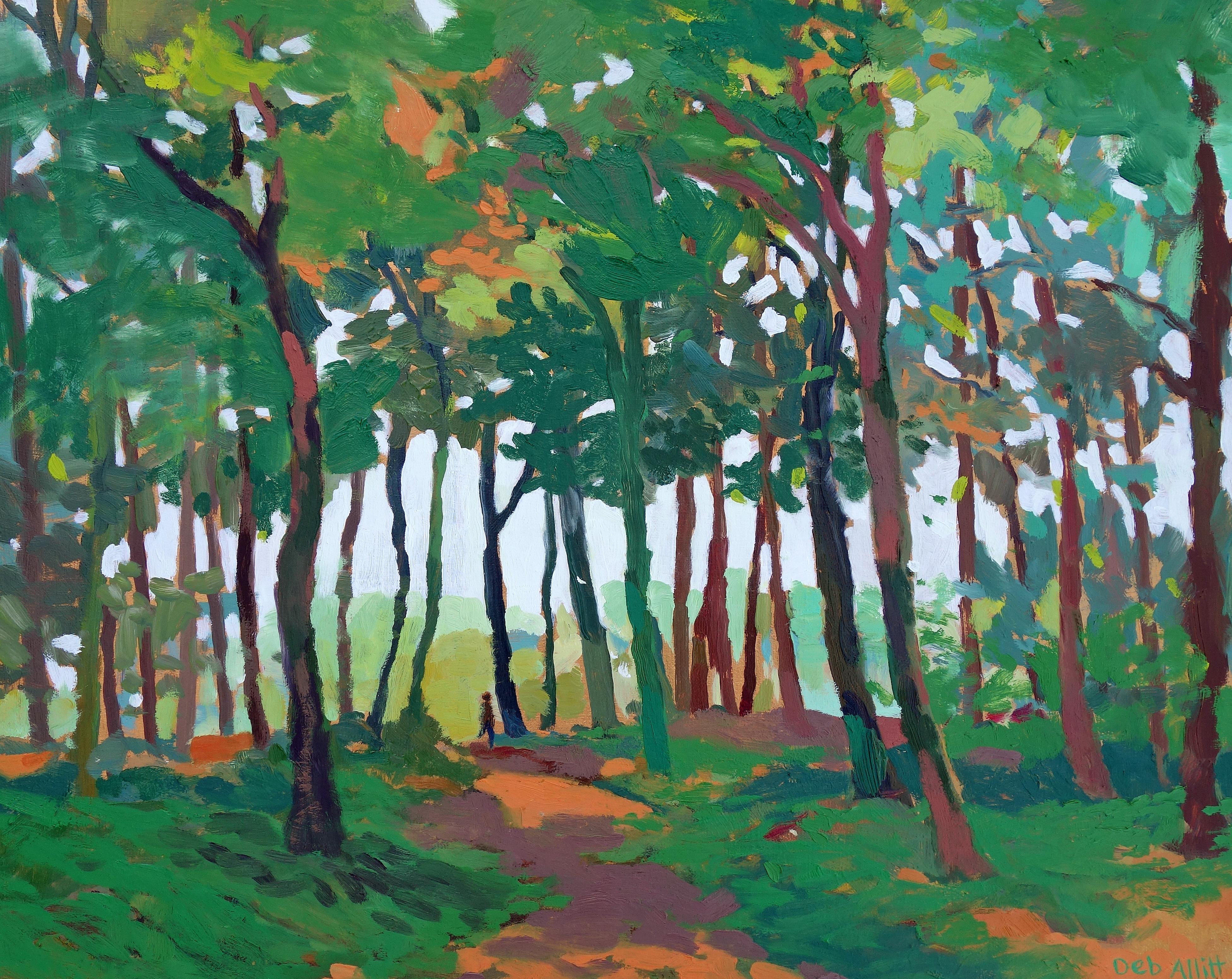 Looking Towards the Light, Osmaston Woods. Oil on canvas. 40 x 50 cm.