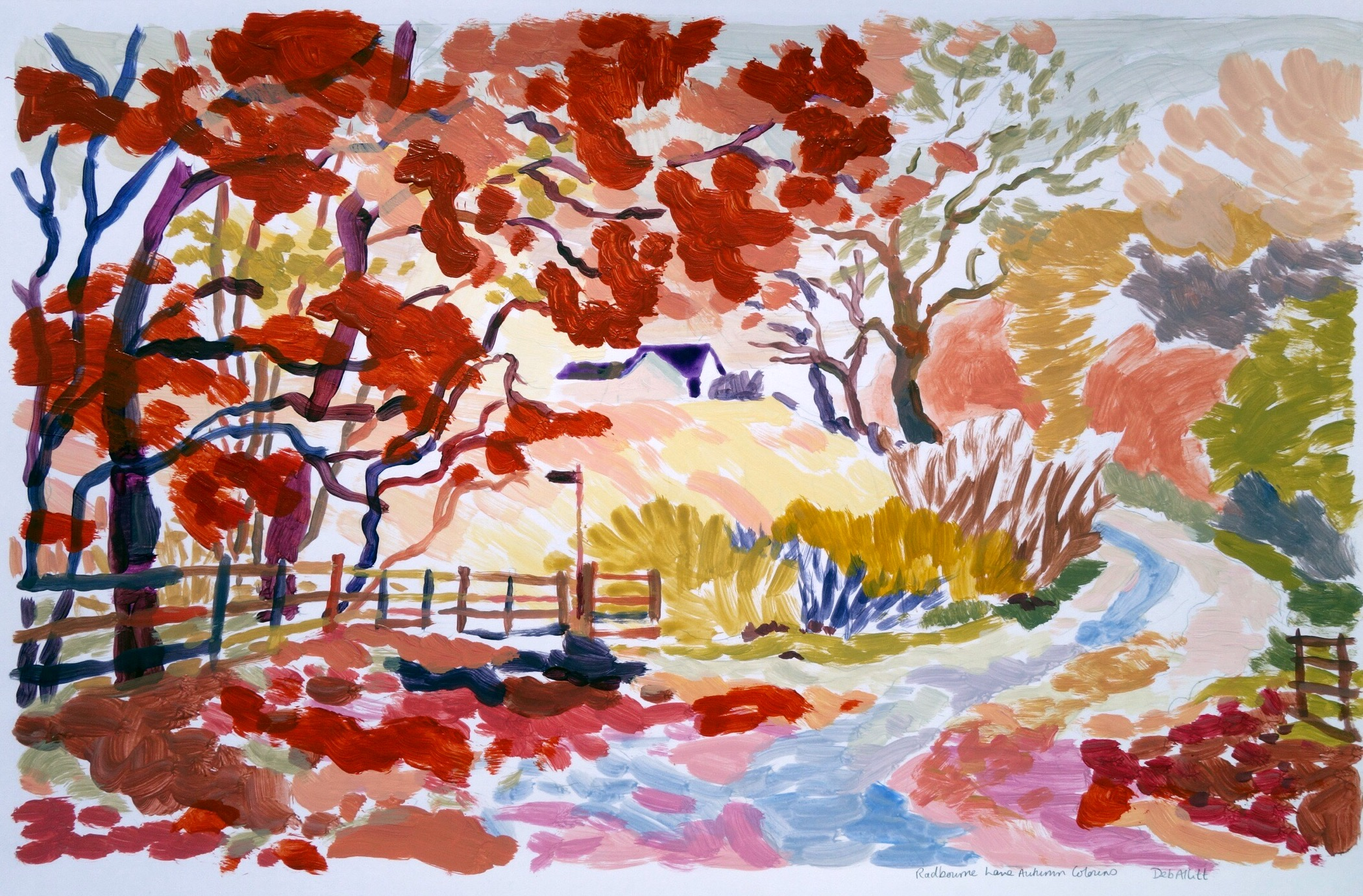 Autumn Colours in a Country Lane, Radbourne. Acrylic on paper. 29 x 41 cm.