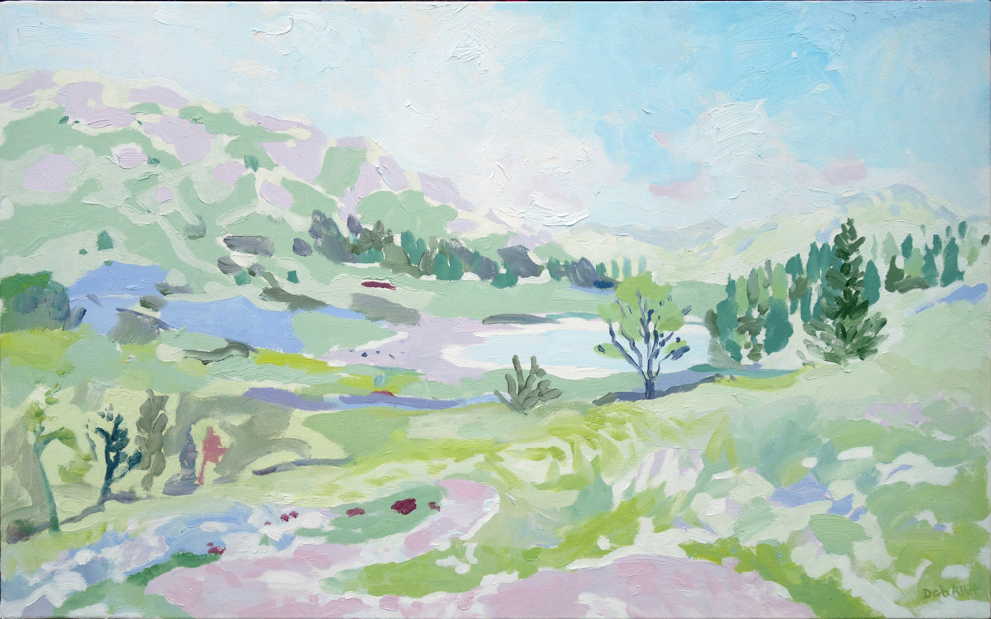 Soft Dawn over Blea Tarn near Great Langdale. Oil on canvas. 60 x 97 cm (sold)