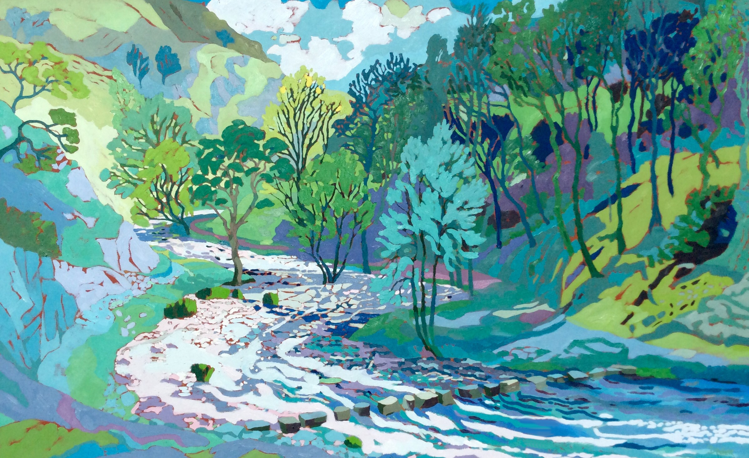 Dovedale Stepping Stones. Oil on canvas. 100 x 161.5 cm. (Sold)