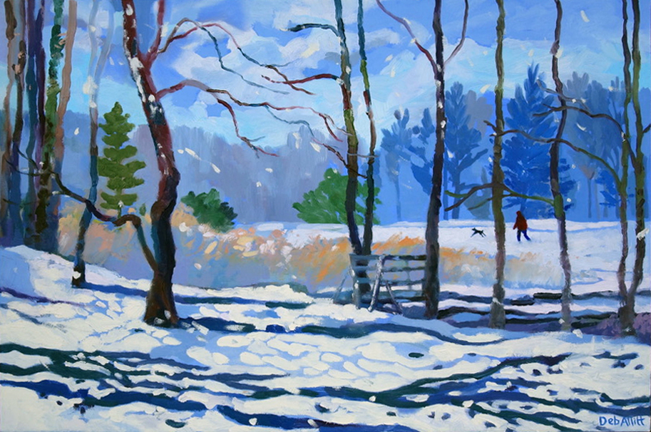 Snow and Sun, a Walk in the Park. Oil on canvas. 40 x 60