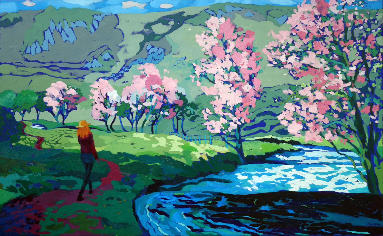 Pink Blossom, Sunny River, Dovedale. Oil on canvas. 100 x 161 cm