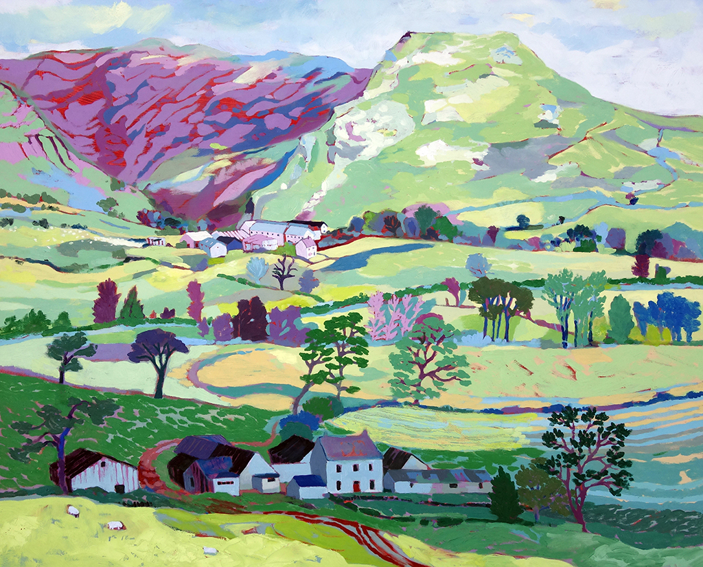 Thorpe Cloud Spring Morning. Oil on canvas. 80 x 100 cm