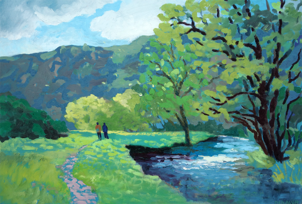 Walking Home by the River Dove. Oil on canvas. 40 x 60 cm.