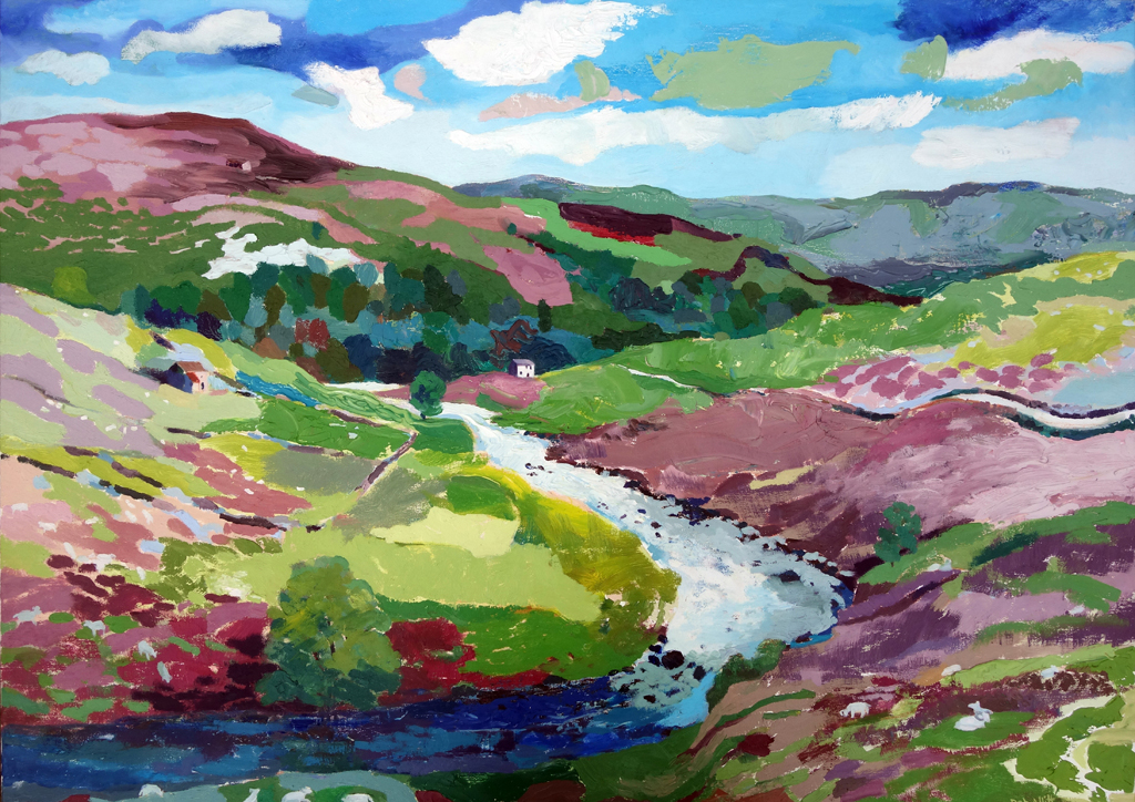 Two Bends in the Wild River Swale. Oil on canvas. Oil on canvas. 70 x 100 cm