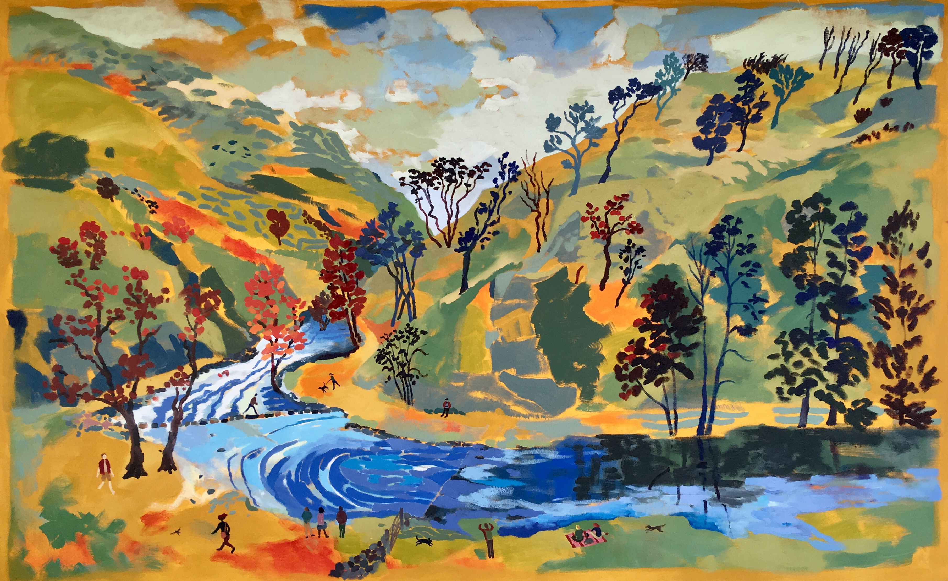 Dovedale Stepping Stones November Day. Oil on canvas. 100 x 162 cm (sold)