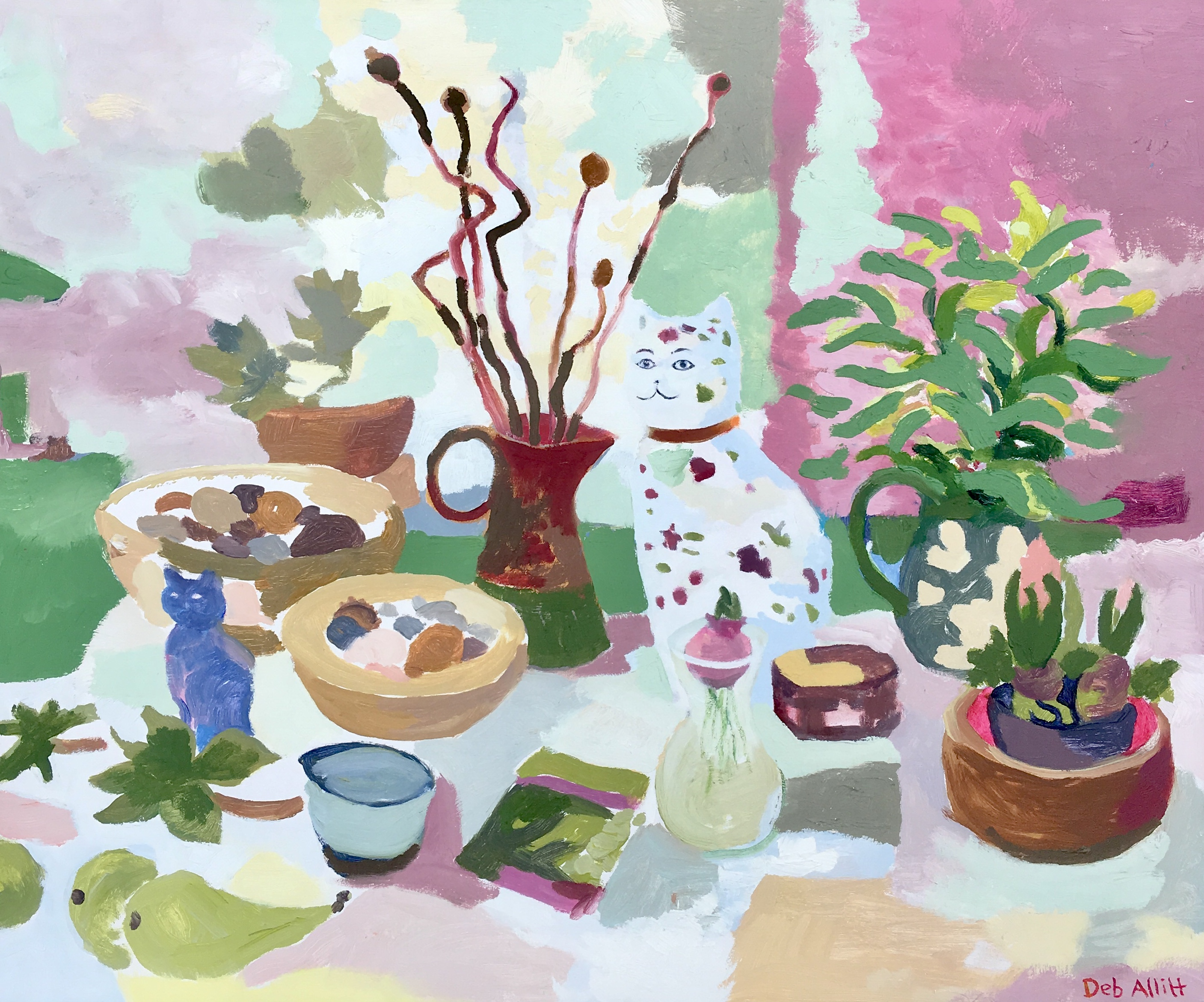Still Life with China Cat. Oil on canvas. 50 x 60 cm