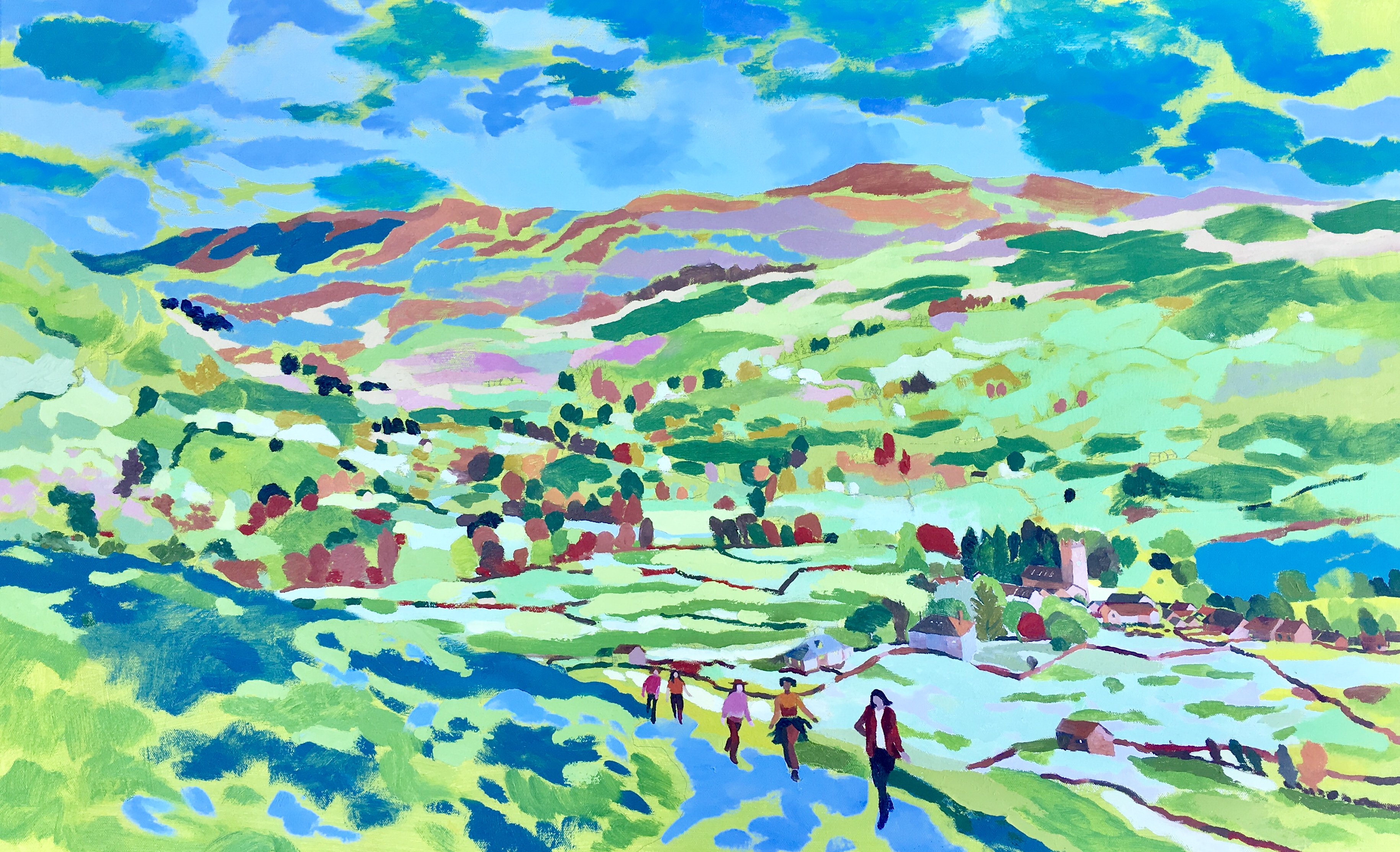 Muker with Girls Walking up a Hill. Oil on canvas. 60 x 97 cm