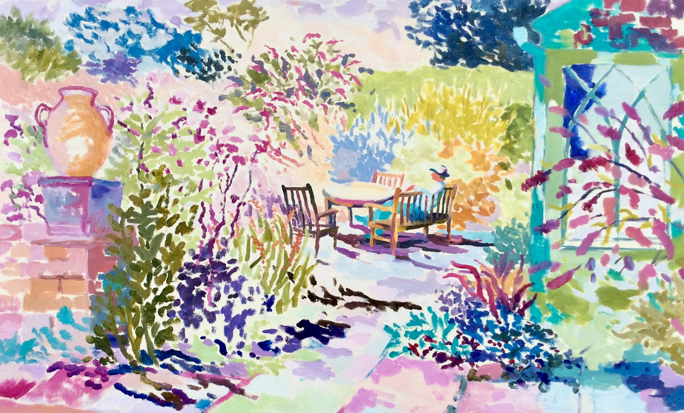 Saturday Afternoon in the Garden. Oil on canvas. 60 x 97 cm