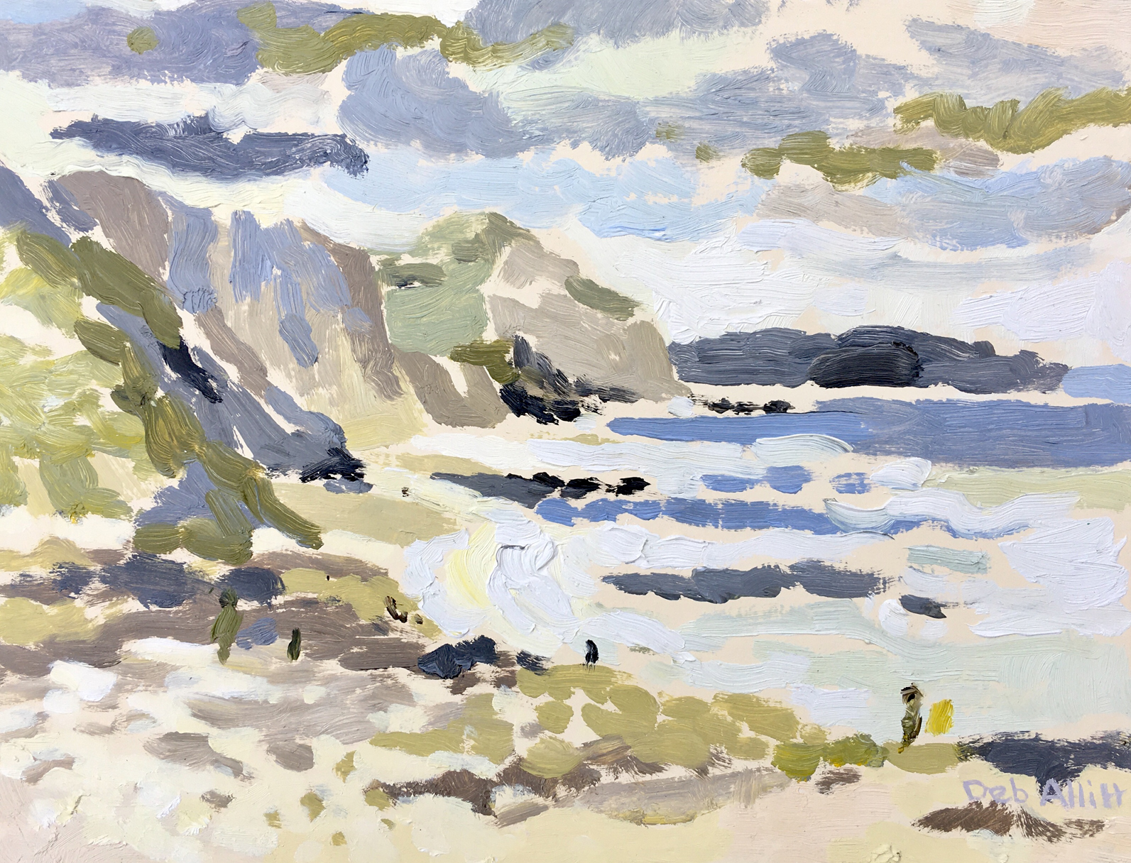 Charmouth Beach, July Day. Oil on canvas. 20 x 26 cm.