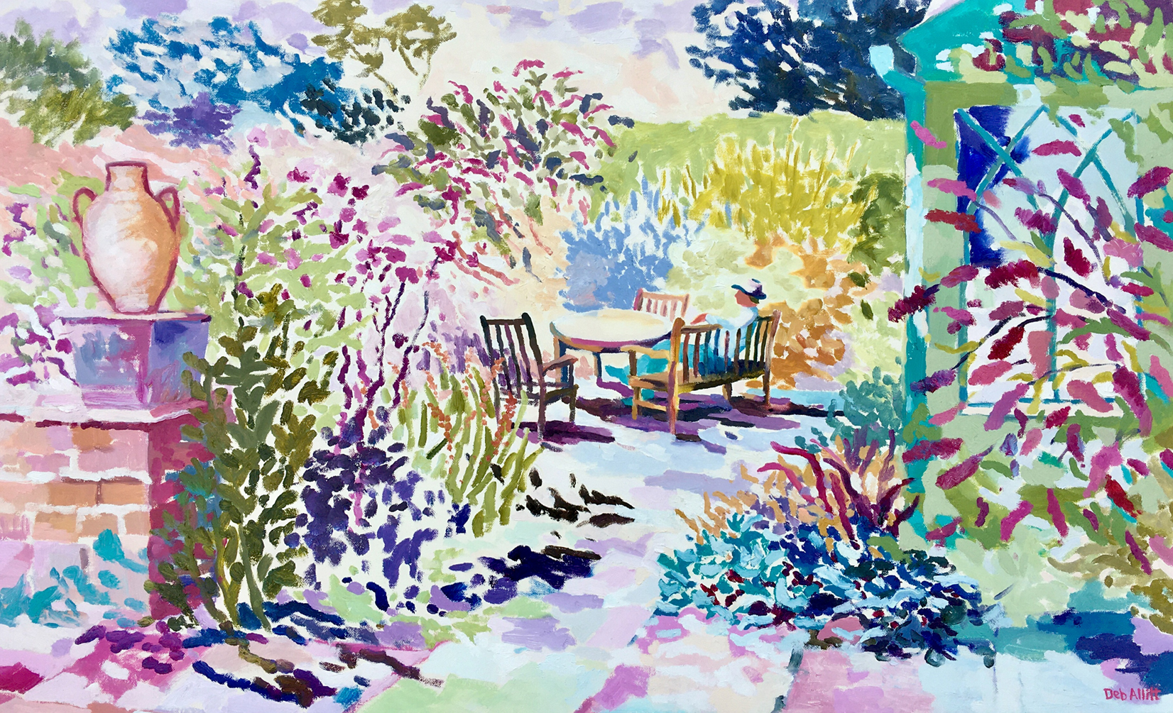 Saturday Afternoon in the Garden. Oil on canvas. 60 x 97 cm (sold)