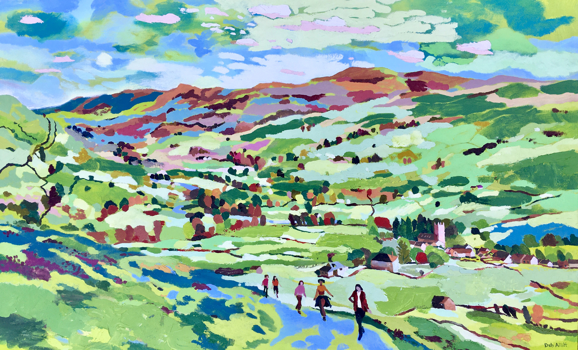 Girls Walking out of Muker, North Yorkshire. Oil on canvas. 60 x 97 cm