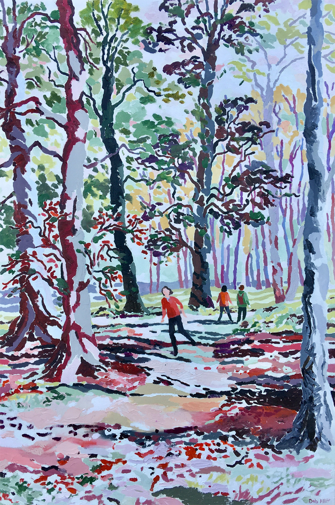 Walking in Autumn Woods, Kedleston Park. Oil on canvas. 120 x 80 cm
