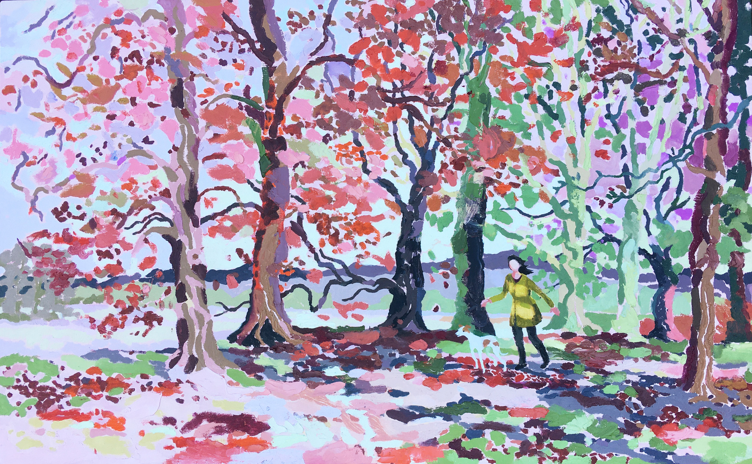 Autumn Walk, Reds and Greens. Oil on canvas. 70 x 113 cm