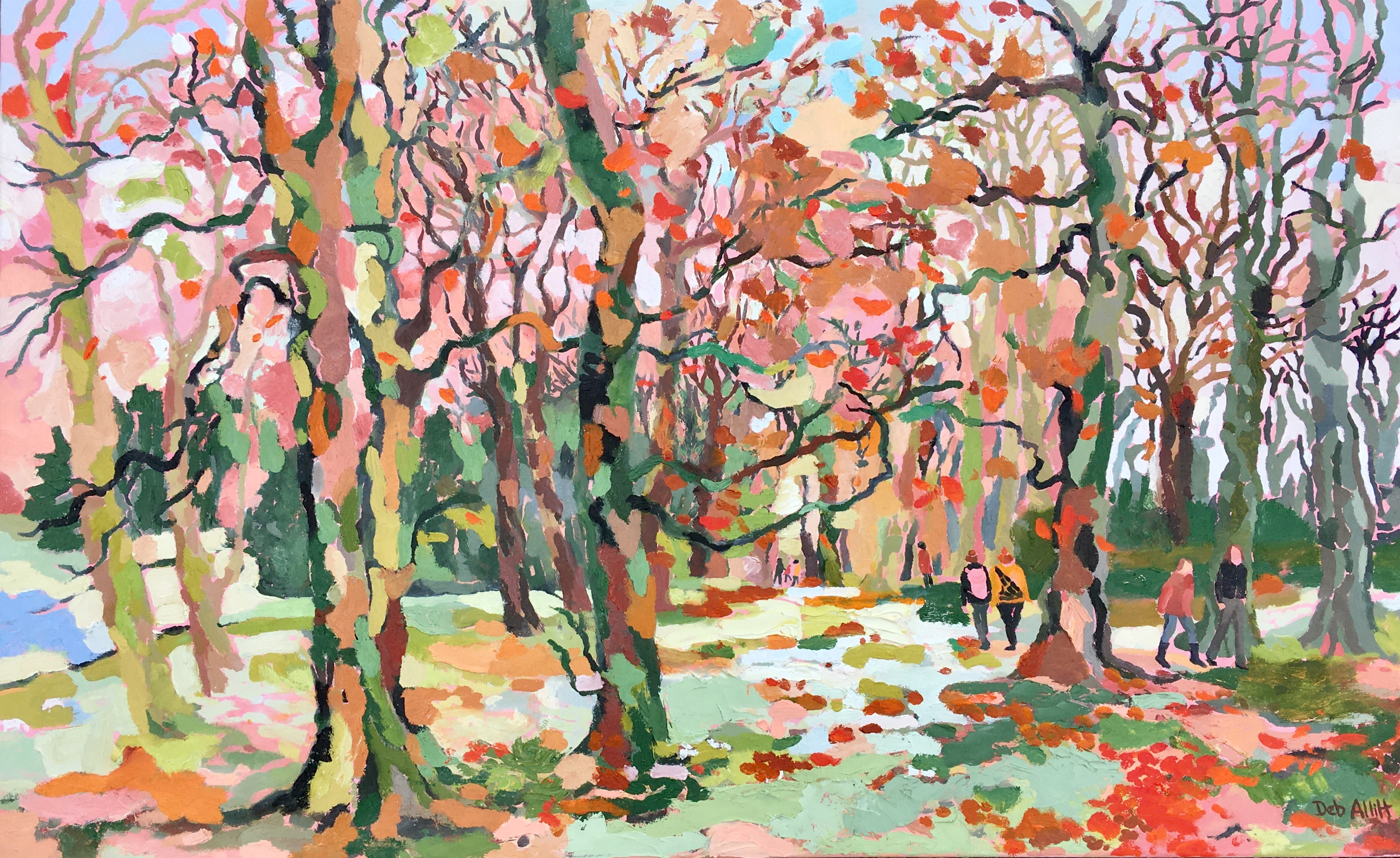 Autumn Colours in the Woods. Oil on canvas. 70 x 113 cm.