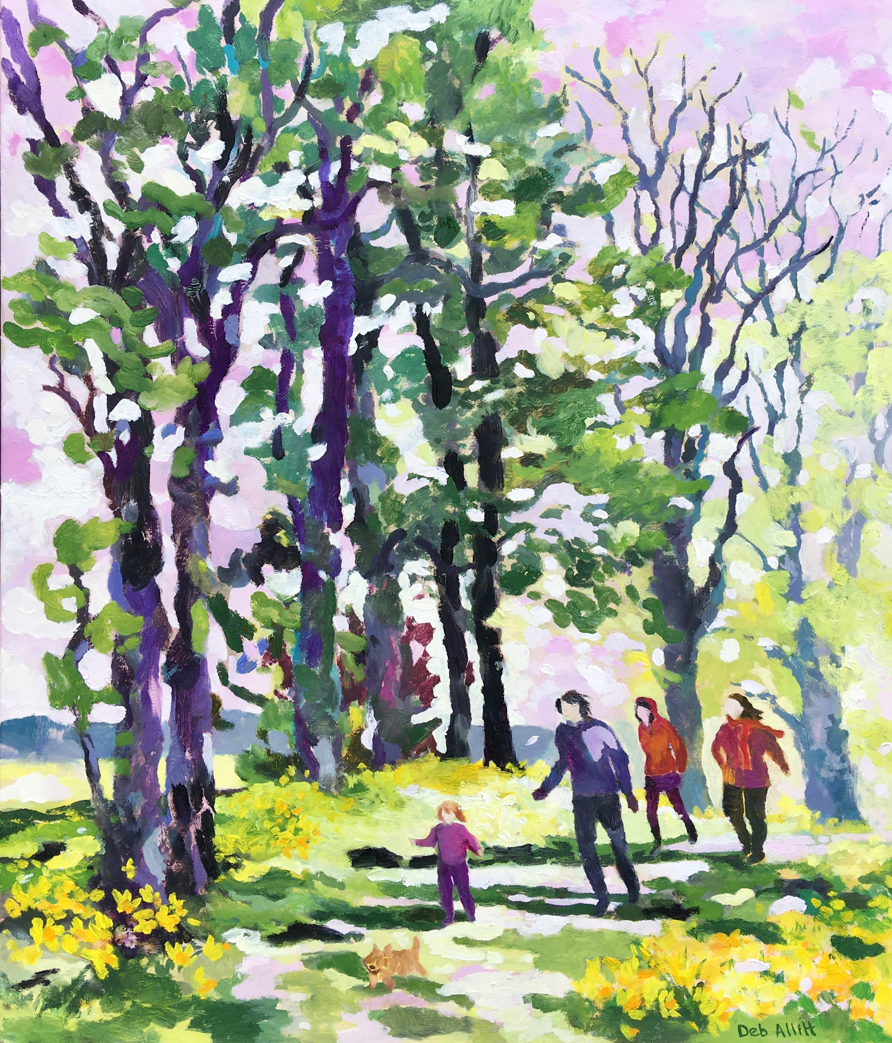 Daffodil Walk in the Woods. Oil on canvas. 60 x 70 cm