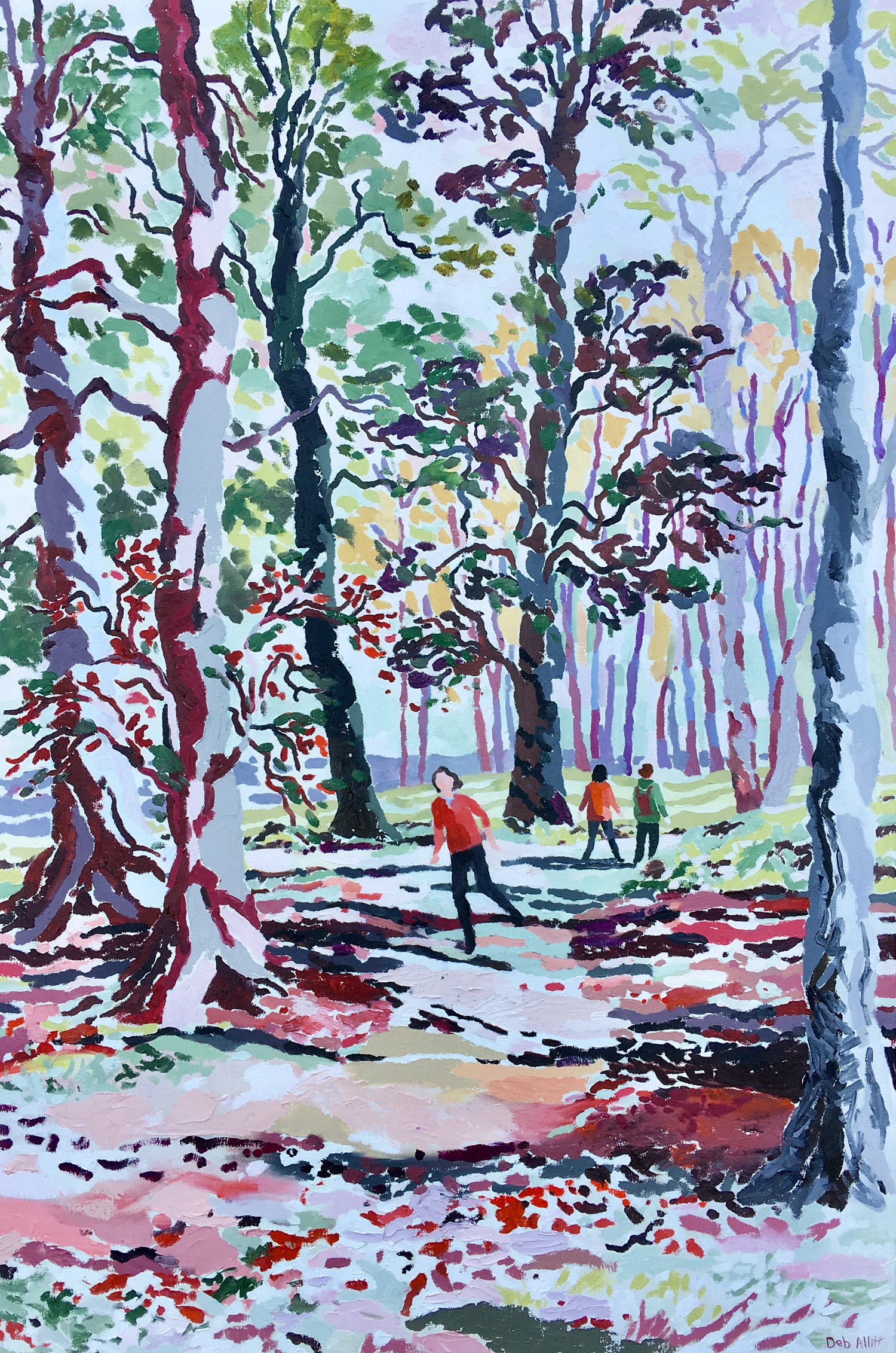 Walking in Autumn Woods, Kedleston Park. Oil on canvas. 120 x 80 cm