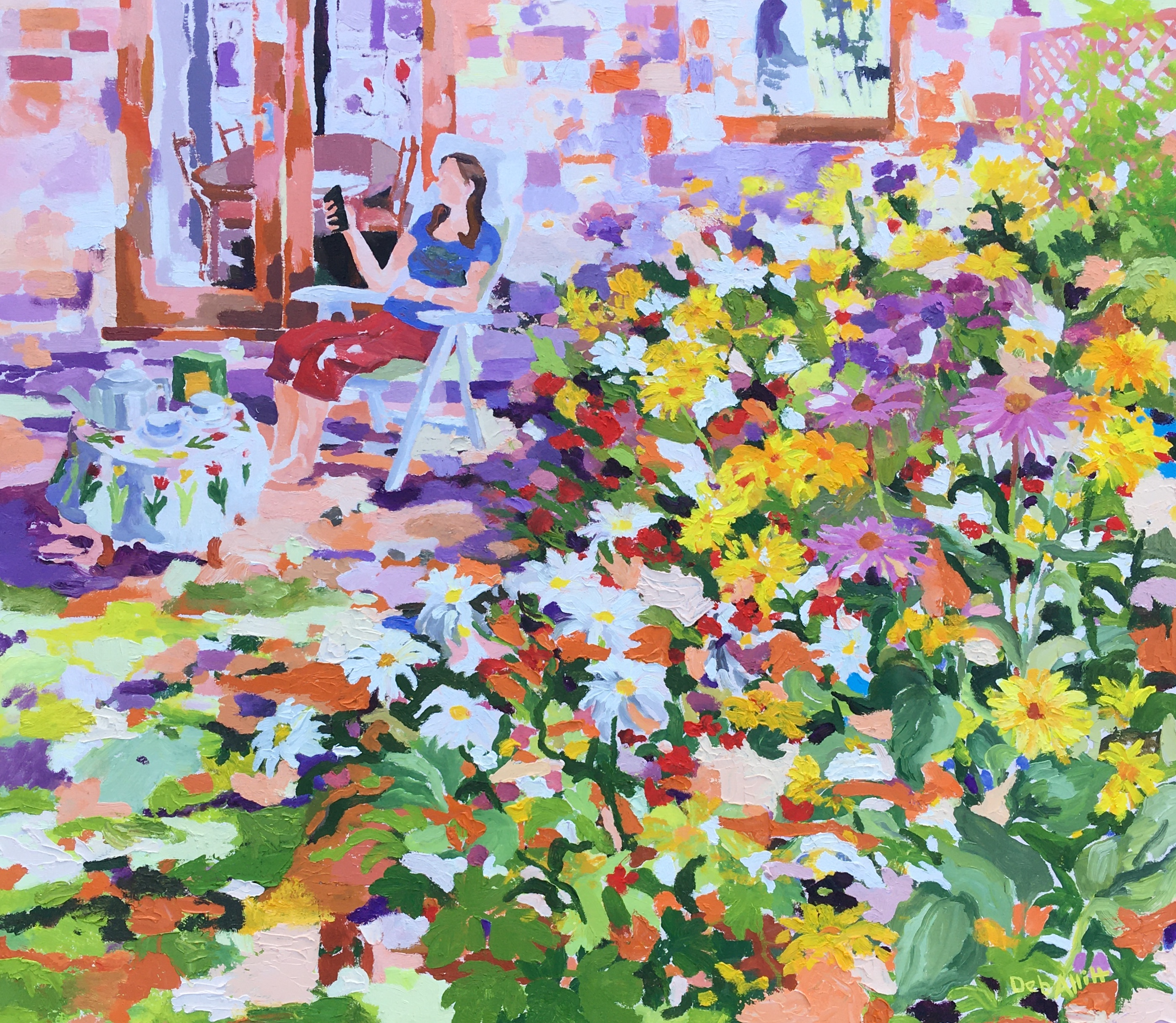 Chilling Out in the Flower Garden. Oil on canvas. 70 x 80 cm