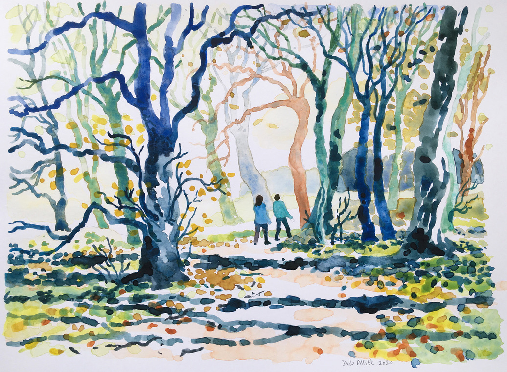 Autumn Walk in the Woods. Watercolour on paper. 21 x 28 cm. Banks Mill Open Studios Advent Calendar Event.