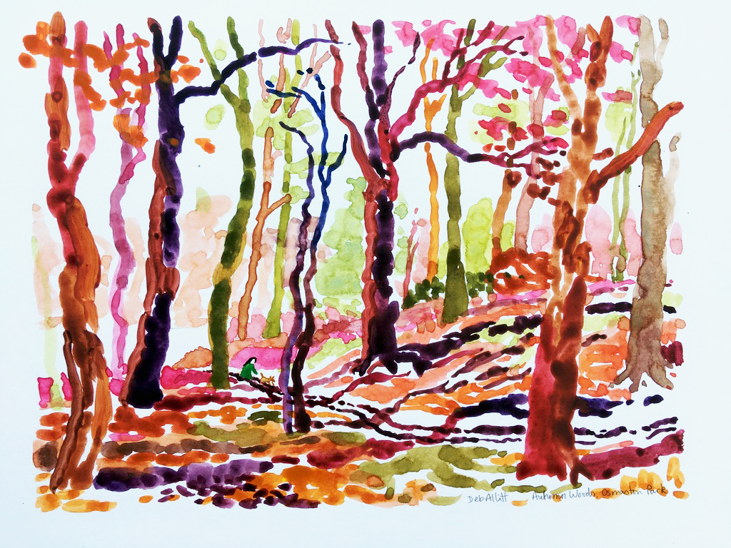 Autumn Woods, Osmaston Park. Watercolour on paper. 21 x 28 cm.