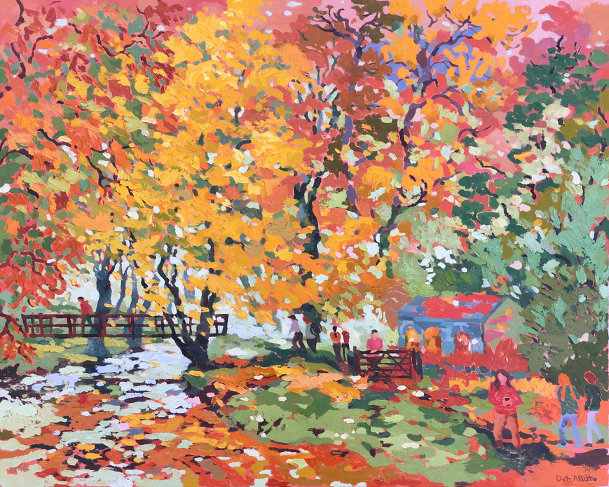 Flaming Colours at Coldeaton Bridge Dovedale. Oil on canvas. 80 x 100cm. Showing at Tarpey Gallery Winter Exhibition 5th December - 24 January (sold)