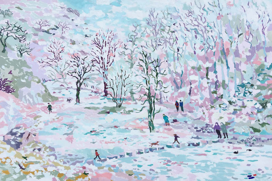 DovedaleStepping Stones in Winter. Oil on canvas. 80 x 120 cm