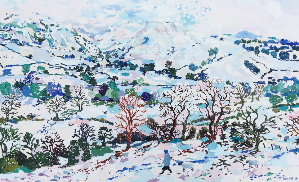 Thorpe Cloud Landscape in the Snow. Oil on Canvas. 70 x 113 cm
