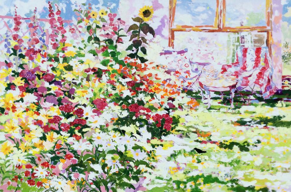 Tea-Time Hot Summer Garden. 80 x120 cm. Oil on canvas